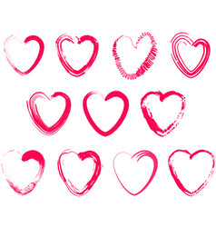set of different brush hearts isolated objects on vector image