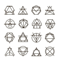 Set of retro line abstract hipster monochrome vector image