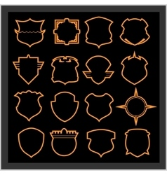 Shield frames icons set - vintage heraldic shields vector