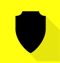 shield sign black icon with flat vector image