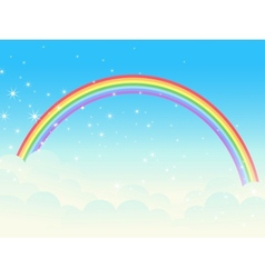 Shiny rainbow landscape vector image