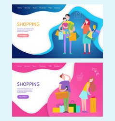 Shopping happy family parents and kids packages vector