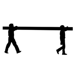 Silhouette two construction workers carry pipe vector
