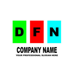 simple logo the three letters dfn are located on vector image