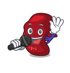 Singing spleen mascot cartoon style vector