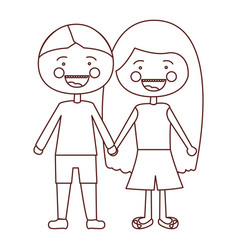 sketch contour smile expression cartoon couple vector image