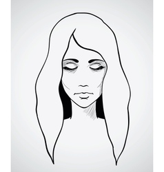 Sketch of a beautiful woman Hand drawn vector image