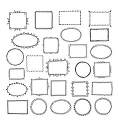 sketch picture frames doodle square borders vector image