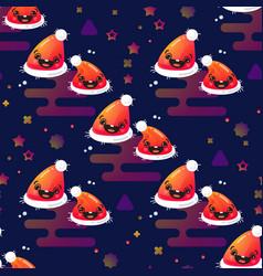smiling santa hat seamless pattern vector image