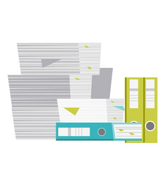 Stack of folders and documents cartoon vector