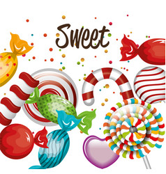 sweet candies lollipop cane traditional design vector image