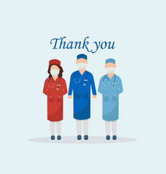 Thank you medical staff corona virus template vector