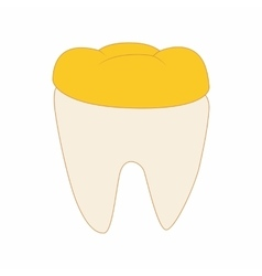 Tooth with golden dental crown icon cartoon style vector
