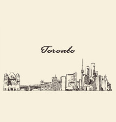 toronto skyline canada hand drawn sketch vector image