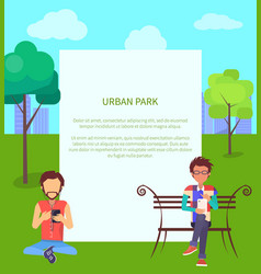 urban park web banner with people in wi-fi zone vector image