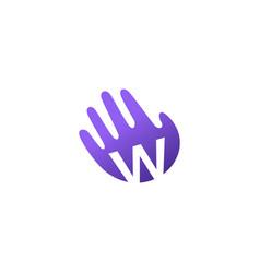W letter hand palm hello logo icon vector