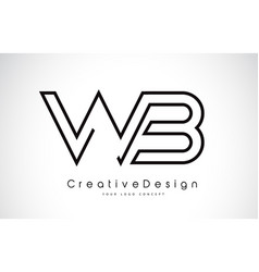 Wb w b letter logo design in black colors vector