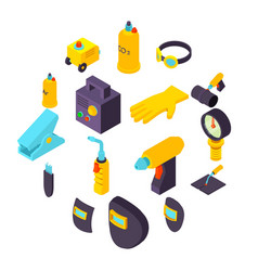 Welding tools icons set isometric style vector