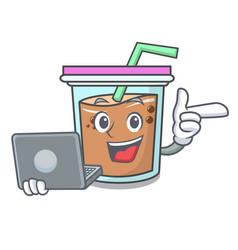 With laptop bubble tea character cartoon vector