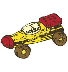 Wooden toys racing car vector