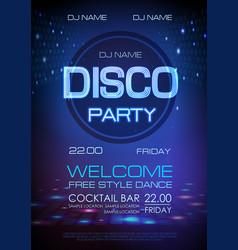 Disco ball background neon sign disco party vector