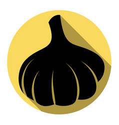 garlic simple sign flat black icon with vector image vector image