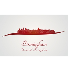 Birmingham skyline in red vector image vector image