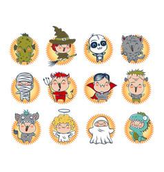 Cute halloween monsters vector