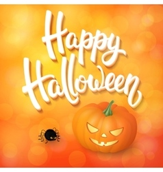 Halloween greeting card with pumpkin angry spider vector image vector image