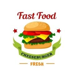 Cheeseburger Fast Food burger emblem vector image vector image
