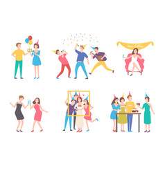 collection of people celebrating birthday - eating vector image vector image