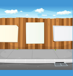 empty signs on urban wood fence vector image