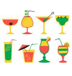 set with alcohol cocktails flat cartoon style vector image vector image
