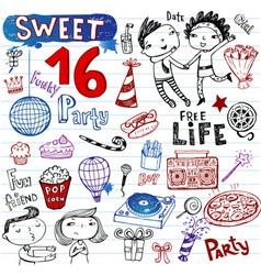 sweet 16 doodles vector image vector image