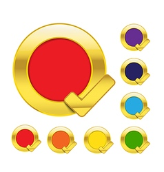 Gold circle and check mark blank icons isolated on vector image