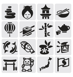 Japanese icon set vector image vector image