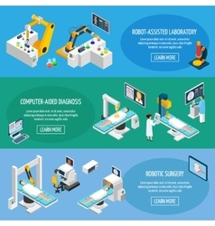 Robotic surgery isometric banners vector