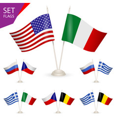 set - table stand with flags vector image vector image