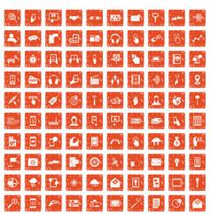 100 mobile icons set grunge orange vector