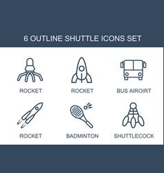 6 shuttle icons vector