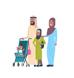 arab father mother daughter bason in stroller vector image