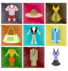 assembly flat shading style icons fashion clothes vector image