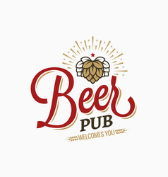 beer pub vintage logo on white background vector image