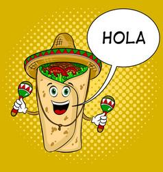 burrito and maraca pop art vector image