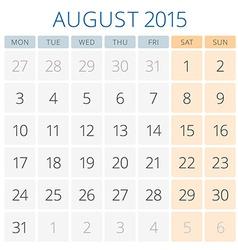 Calendar 2015 August design template vector