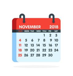 Calendar for 2018 year full month november icon vector