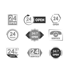 cartoon 24 hours open service tag icon set vector image