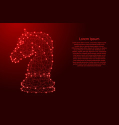 chess horse from futuristic polygonal red lines vector image