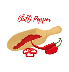 chilli pepper with wooden spool powder vector image