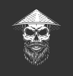 Chinese skull in conical straw hat vector